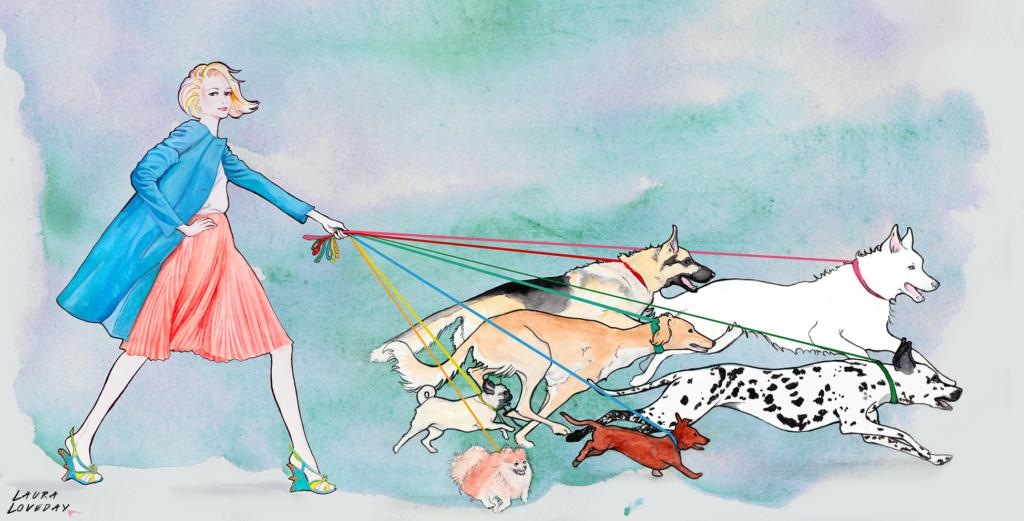 woman walking dogs fashion illustration