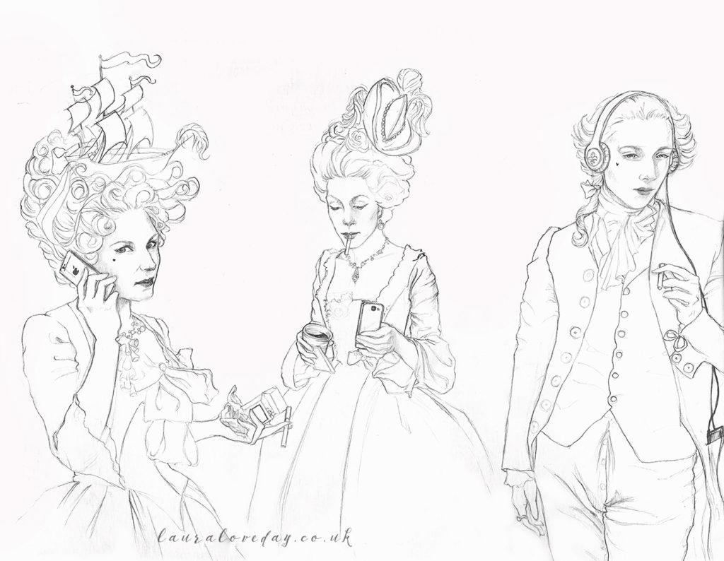 marie anoinette modern sketch