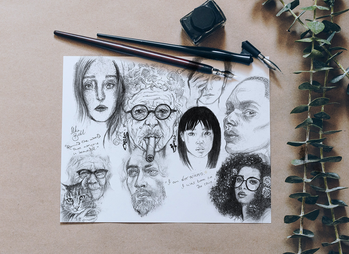 Laura Loveday, artist, sketches, pencil sketches, faces