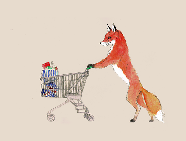 fox at the supermarket version 1 laura loveday