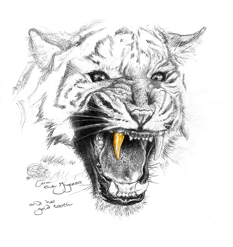 Cara the Tiger gold tooth art laura loveday
